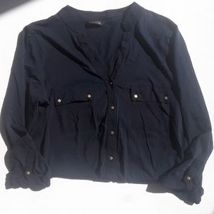 Massimo Dutti Navy  3/4 Sleeve Gold Button Top
